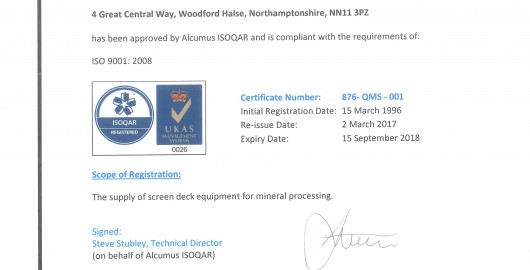 New ISO Accreditation achieved
